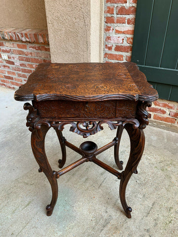 Antique French Carved Wood TABLE Jewelry Cabinet Louis XV Renaissance Faux Bois