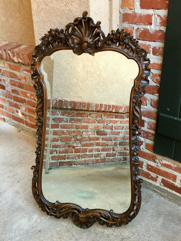 Antique French Open Carved Oak Wall Pier Mirror Frame Art Nouveau Louis XV