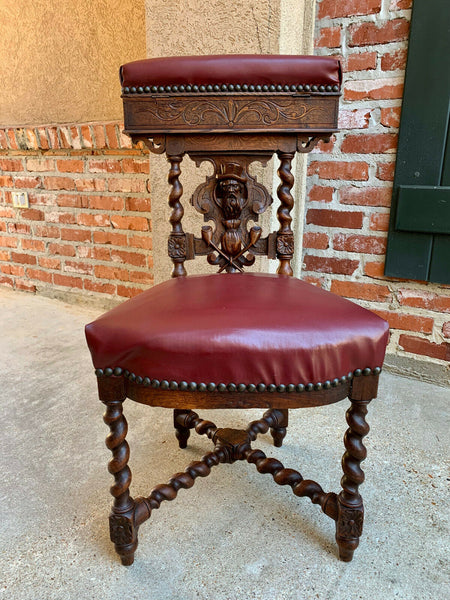 Antique French Carved Oak Smoking Chair Fumeur BARLEY TWIST Breton