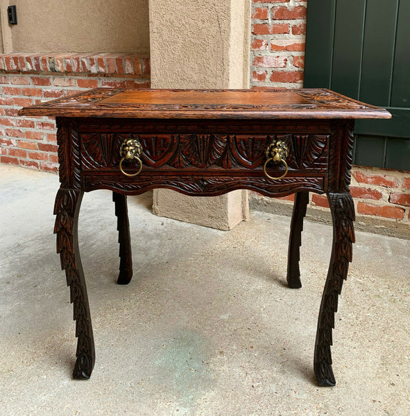 Antique English Carved Oak Hall Side TABLE Nightstand Brass Renaissance Lion