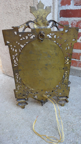 Antique French Brass Wall Sconce Light Fixture Beveled Oval Mirror Art Nouveau