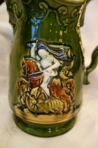 Antique French Majolica Pitcher Green Hunt Warrior Horse North Wind Victorian