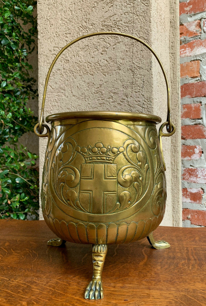 Antique English Embossed Repousse Brass Planter Cache Pot Windmill Celtic Cross