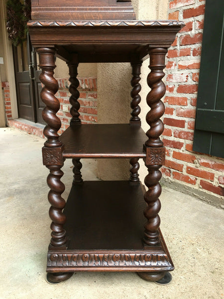 Antique French Carved Oak BARLEY TWIST Display Cabinet Shelf Bookcase Glass