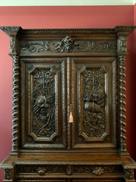 Antique French Carved Oak Hunt Cabinet Bookcase Barley Twist Renaissance 8 ft.