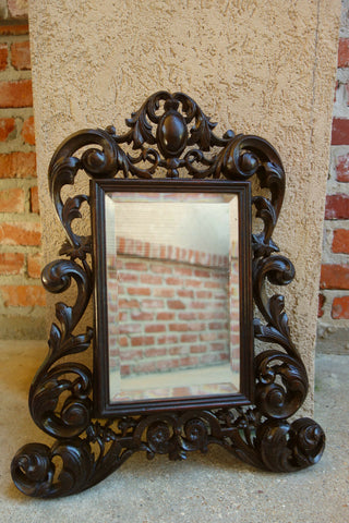 19th century Petite Antique French Carved Dark Oak Beveled Wall Mirror Louis XV style