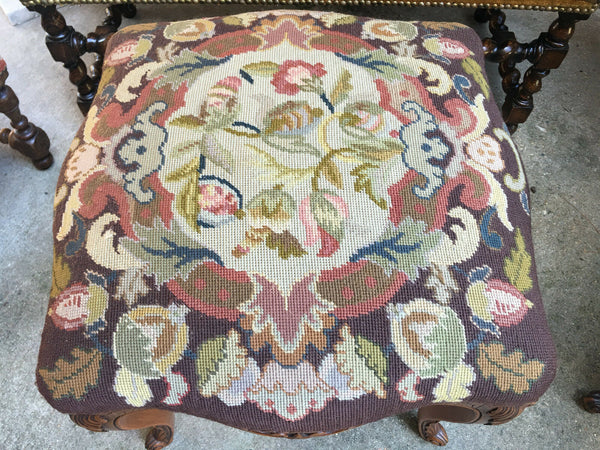 Antique French Carved Oak Louis XV Stool Bench Tapestry Serpentine Tall Cabriole