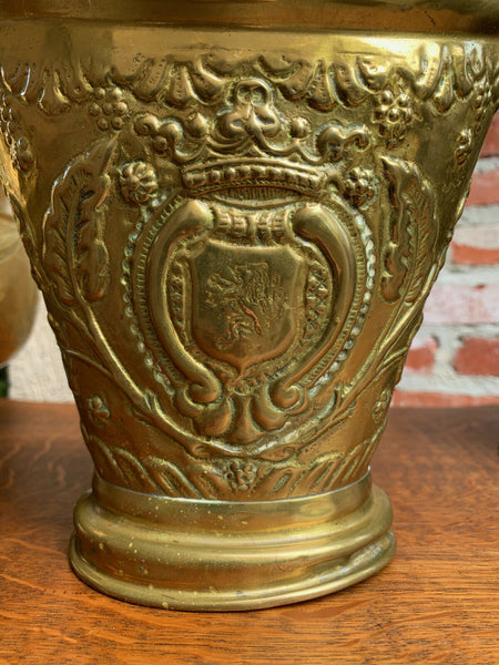 Antique English Embossed Repousse Brass Jardinière Planter Vase Rampant Lion