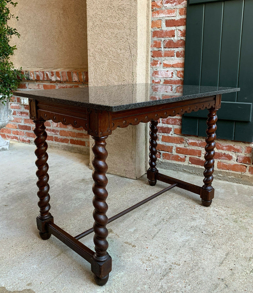 Antique English Carved Oak BARLEY TWIST Sofa Hall TABLE w MARBLE Jacobean style