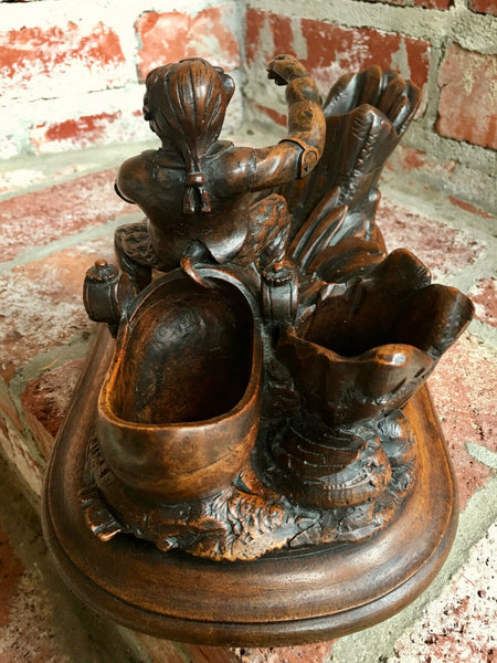 Antique Hand Carved Wood BLACK FOREST Monkey Dutch Shoe Police German Military