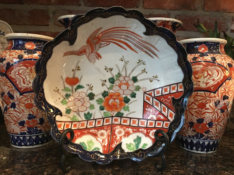 Large Antique Imari Scalloped Bowl Japanese Ceramic Porcelain Hand Painted