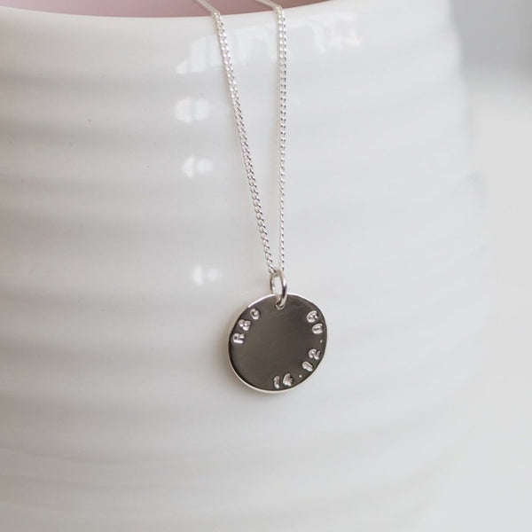 Handmade Sterling Silver Personalised Large Disk Necklace