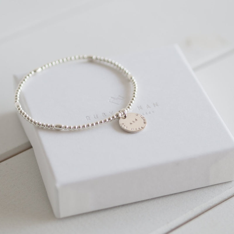 Handmade Sterling Silver Personalised Disk Stretch Bracelet