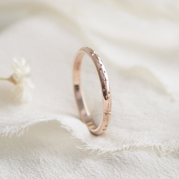 Star Engraved Ring Band in Solid 9ct Rose Gold