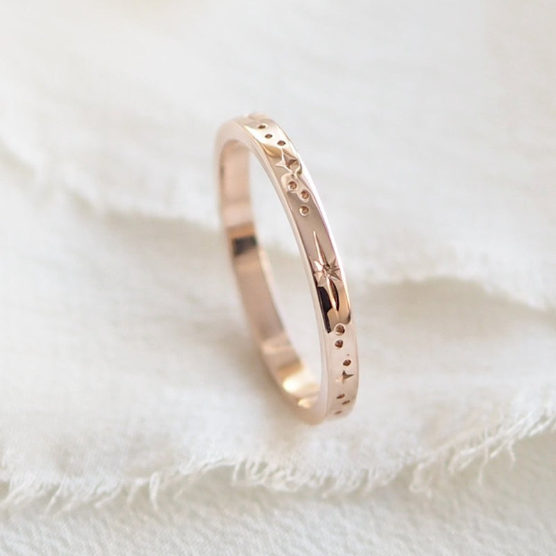Star Engraved Flat Profile Ring Band in Solid 9ct Rose Gold