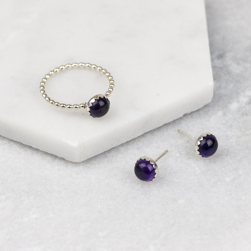 Amethyst Gemstone Earrings and Stacking Ring