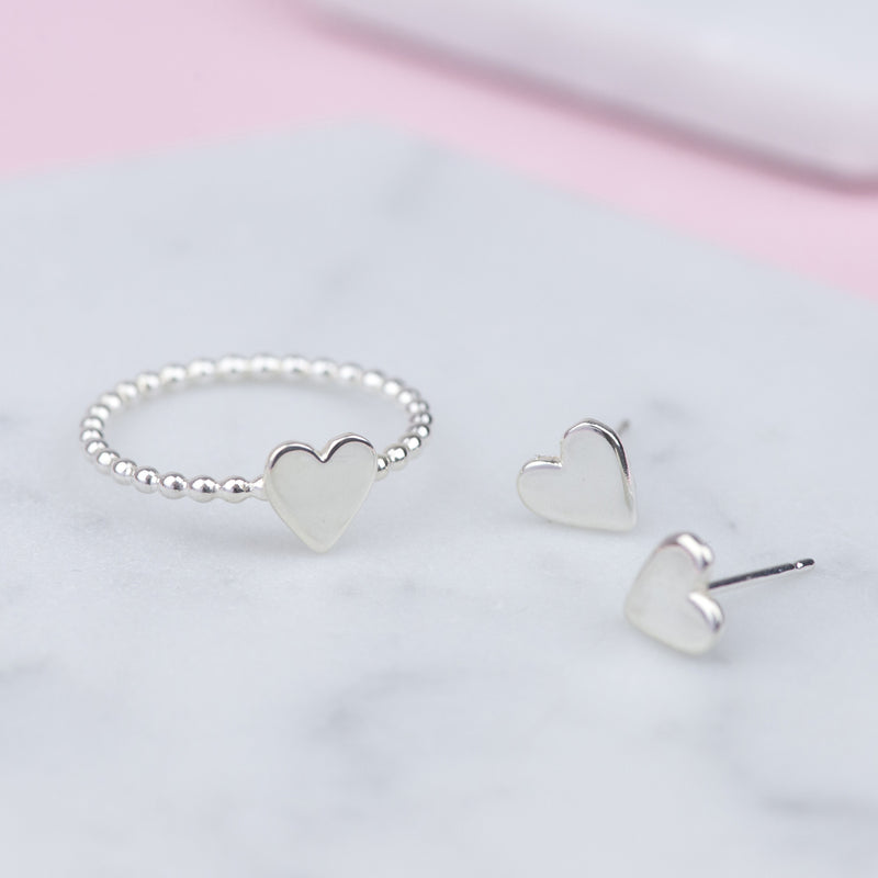 Sterling Silver Heart Stud Earrings and Ring
