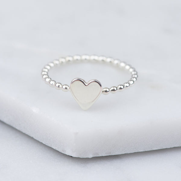 Handmade Sterling Silver Heart Stacking Ring