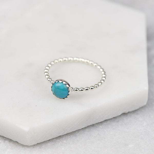 Turquoise - Handmade Sterling Silver Gemstone Stacking Ring