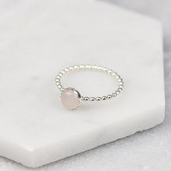 Sterling Silver Rose Quartz Stacking Ring