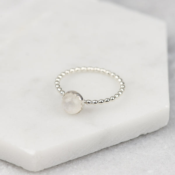 RAINBOW MOONSTONE - HANDMADE STERLING SILVER GEMSTONE STACKING RING