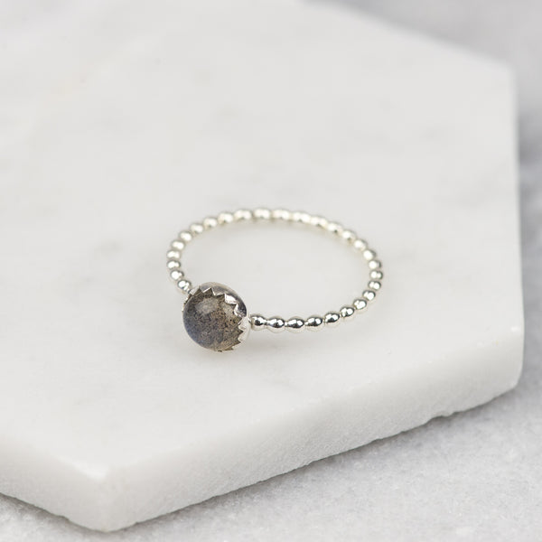 Sterling Silver Labradorite Stacking Ring