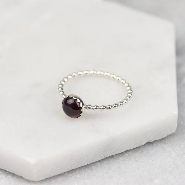 Garnet - Handmade Sterling Silver Gemstone Stacking Ring