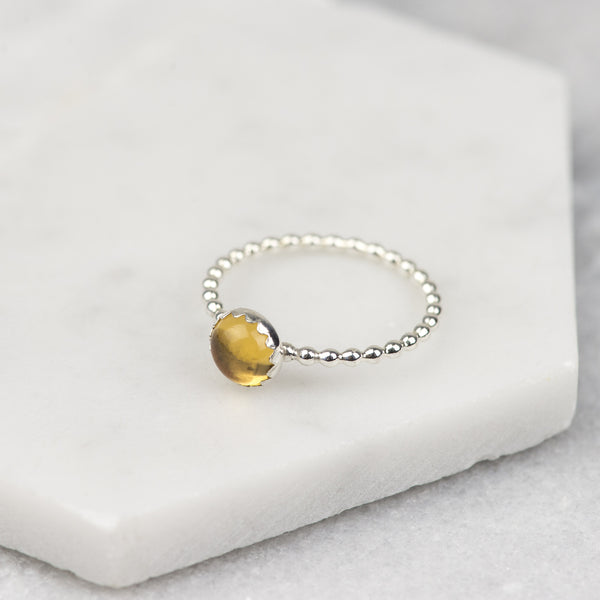 Citrine - Handmade Sterling Silver Gemstone Stacking Ring