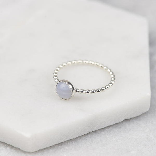 BLUE LACE AGATE - HANDMADE STERLING SILVER GEMSTONE STACKING RING