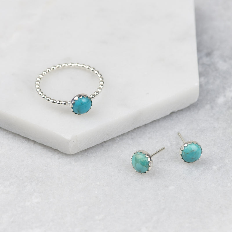 Sterling Silver Turquoise Gemstone Stud Earrings and Stacking Ring