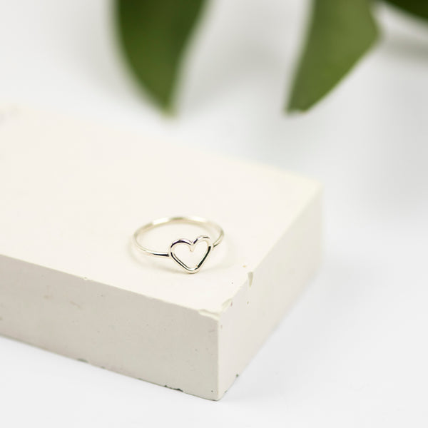 Handmade Sterling Silver Open Heart Ring