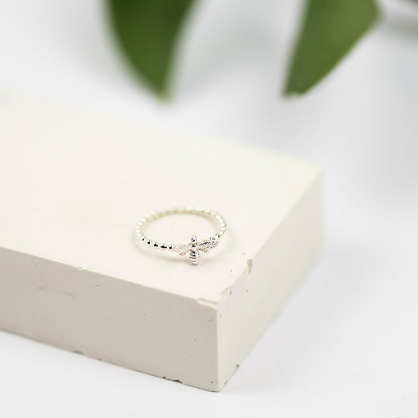 Handmade Sterling Silver Dainty Bee Ring