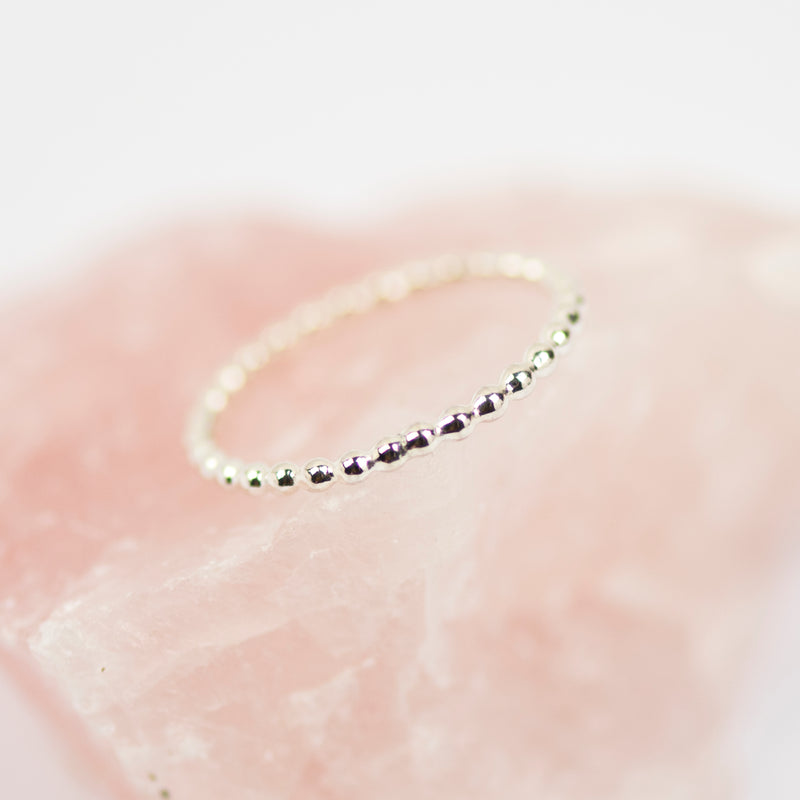 Sterling silver beaded stacking ring