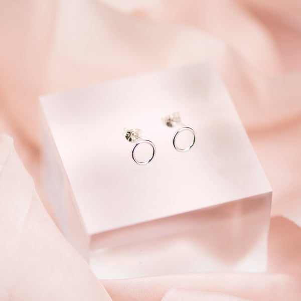 Handmade Sterling Silver Circle Stud Earrings