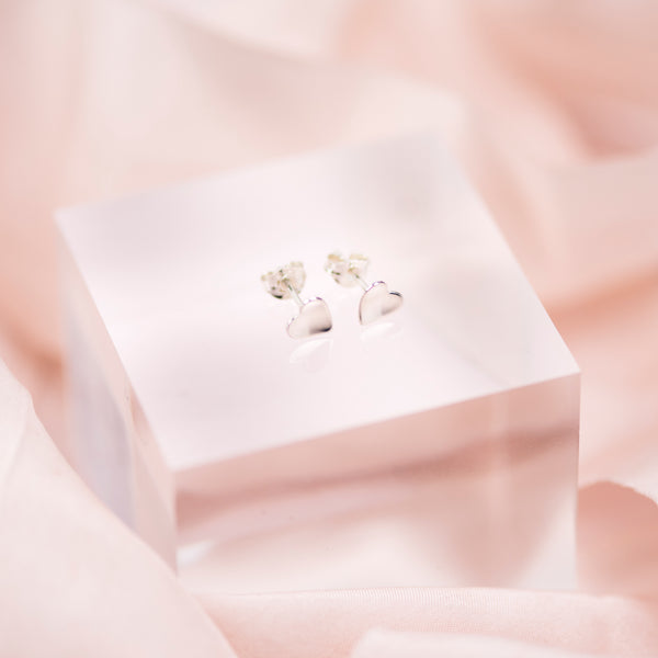 Sterling Silver Concave Heart Stud Earrings
