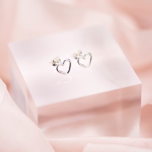 Handmade Sterling Silver Open Heart Stud Earrings