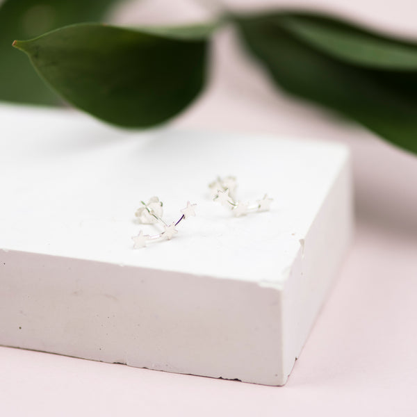 Handmade Sterling Silver Star Climber Stud Earrings
