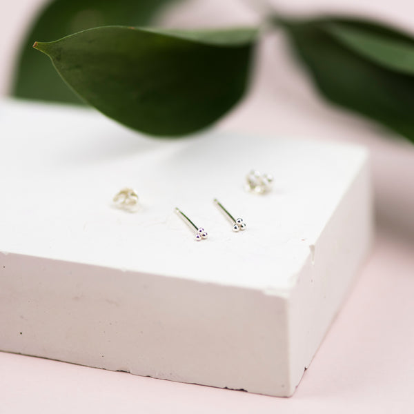 Tiny Handmade Sterling Silver Dot Stud Earrings