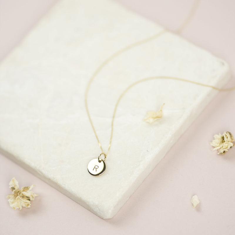 Solid Yellow Gold Initial Necklace