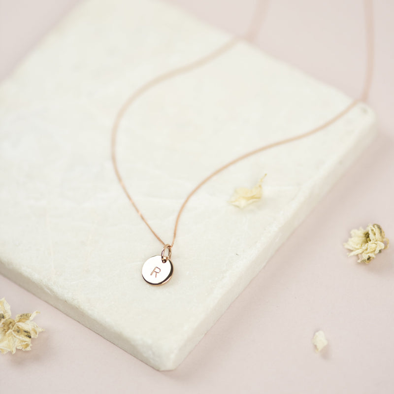 Solid Rose Gold Initial Necklace