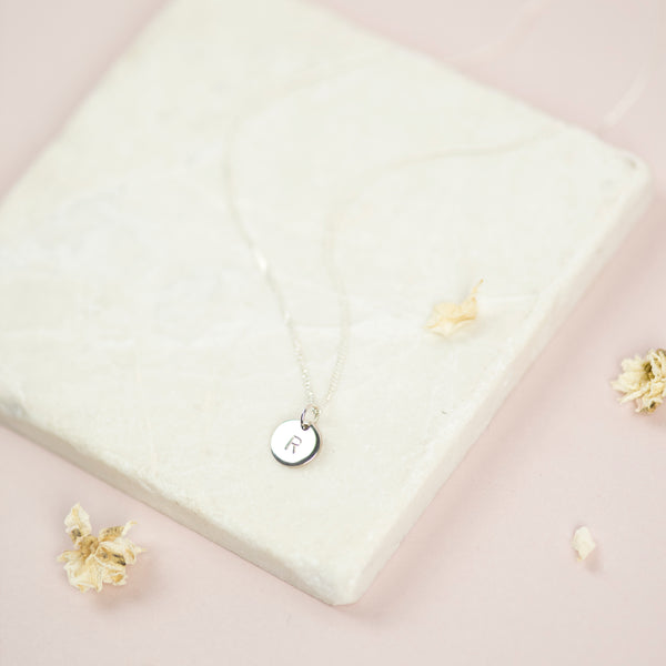 Sterling Silver Personalised Disk Necklace