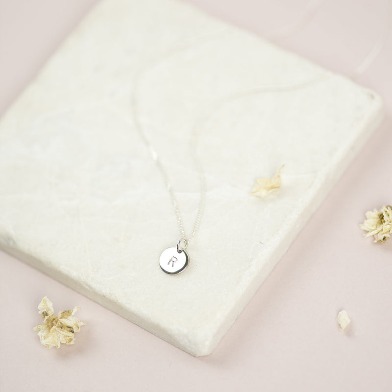 Solid White Gold Initial Necklace