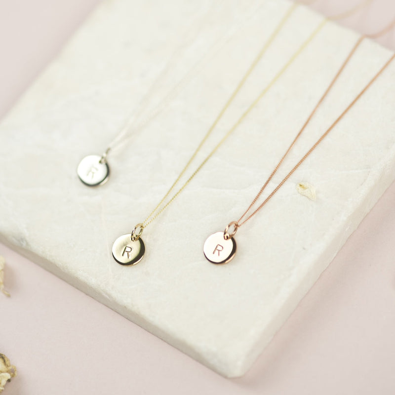 Personalised Gold Disk Necklace