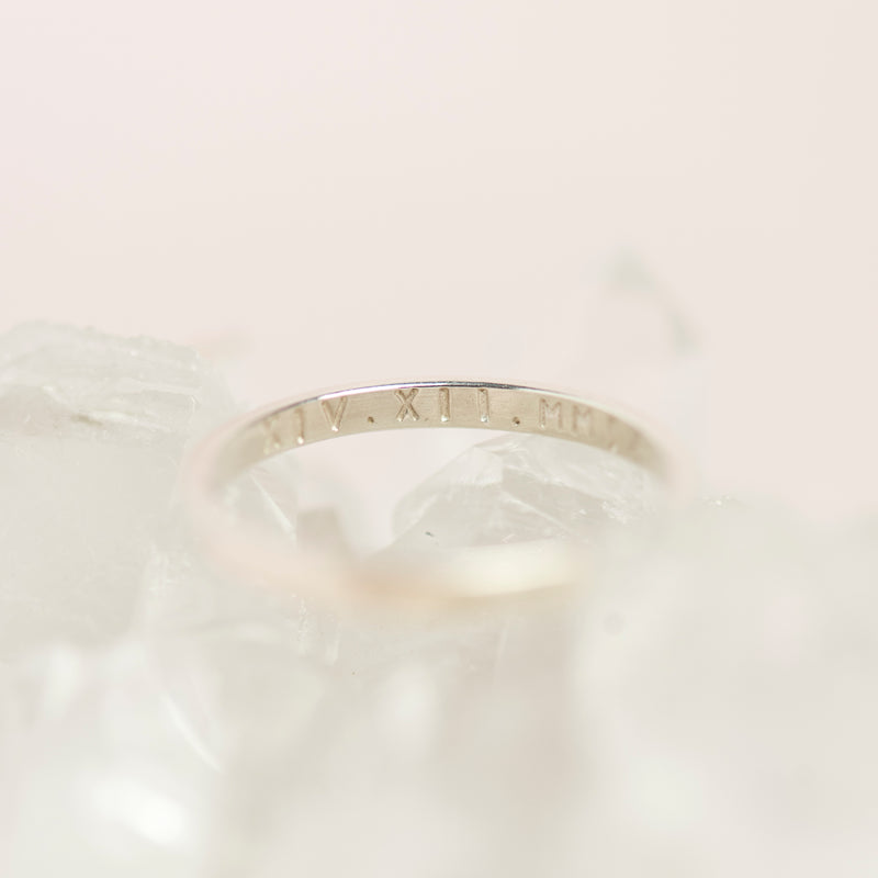 Handmade Sterling Silver Slim Personalised Roman Numeral Stacking Ring