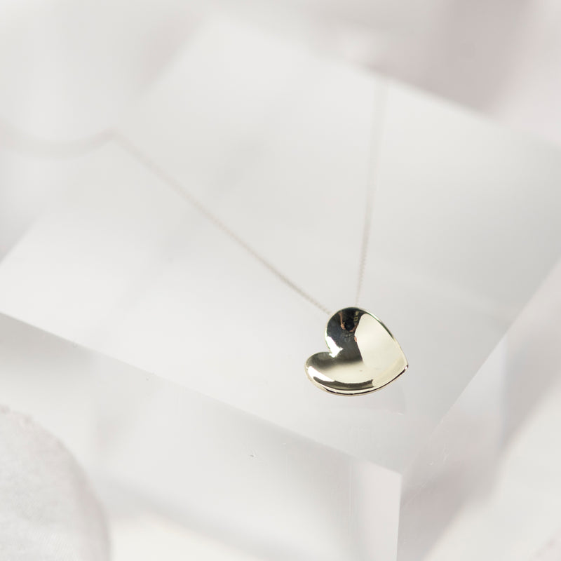 Solid 9 carat white gold heart necklace