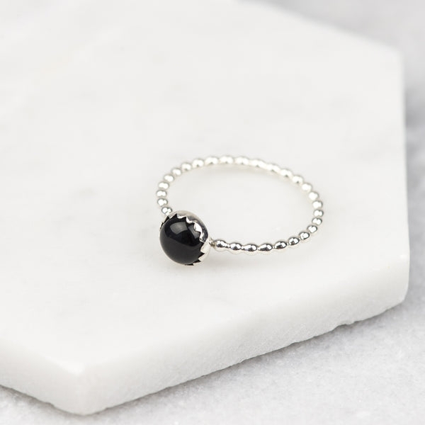 Black Onyx - Handmade Sterling Silver Gemstone Stacking Ring