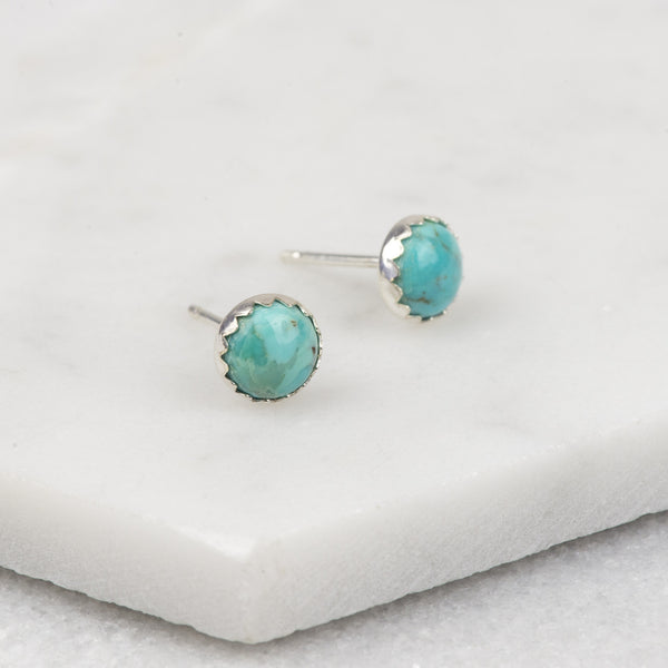 Turquoise - Handmade Sterling Silver Gemstone Stud Earrings