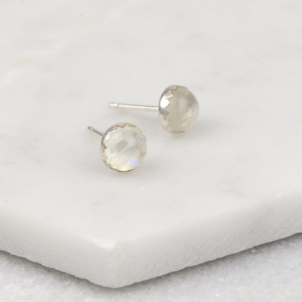 Rainbow Moonstone - Handmade Sterling Silver Gemstone Stud Earrings