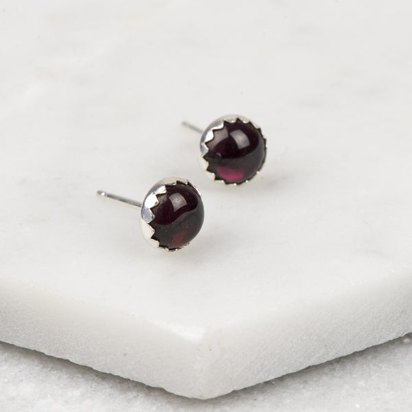 Garnet - Handmade Sterling Silver Gemstone Earrings