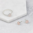 Rose Quartz - Handmade Sterling Silver Gemstone Stud Earrings